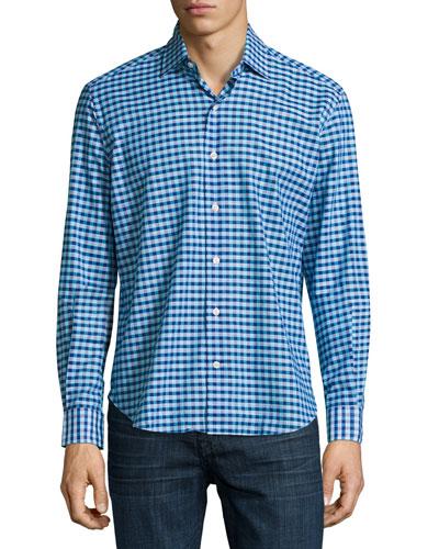 Box Check Sport Shirt, Navy/Aqua