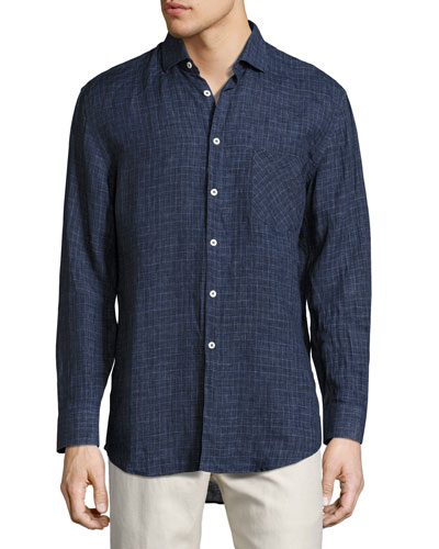 John T Box-Check Linen Oxford Shirt, Indigo