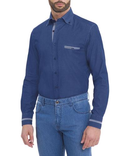 Denim Sport Shirt, Indigo
