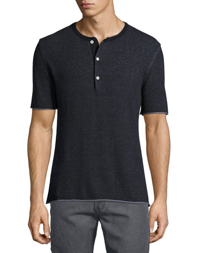 Short-Sleeve Henley Sweater, Navy