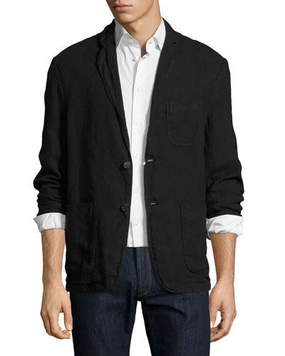 Larson Linen Two-Button Jacket, Black