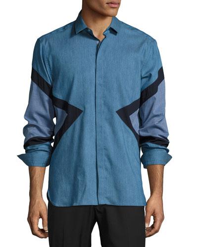 Modernist-Stripe Chambray Shirt, Slate