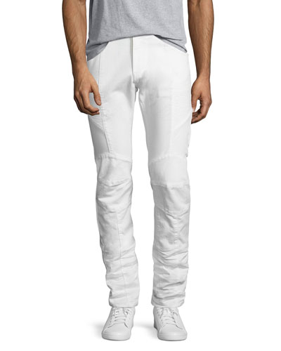 Slim-Straight Moto Jeans, Off White