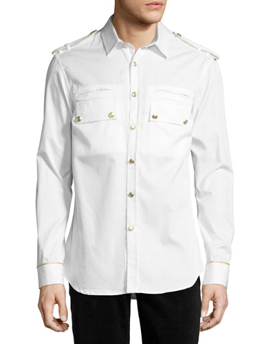 Military Shirt with Gold Buttons, Off White