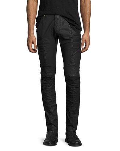 Coated Denim Skinny Moto Jeans, Black