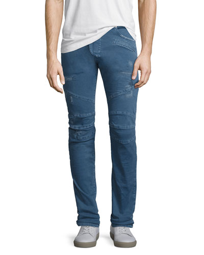 Distressed Twill Moto Slim-Straight Jeans, Light Blue