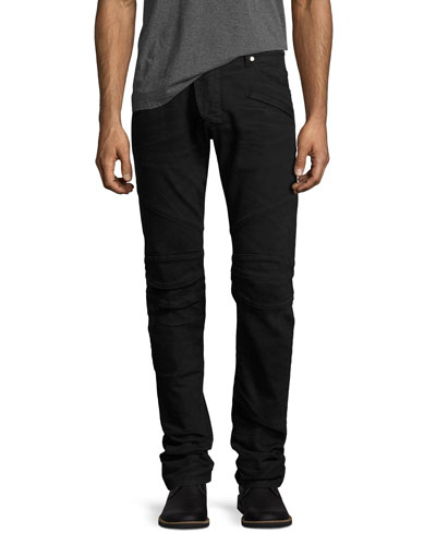 Slim-Straight Stretch-Denim Moto Jeans, Black