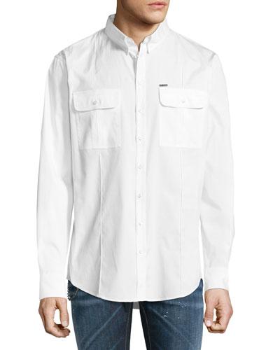 Military Poplin Sport Shirt, White