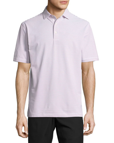 Grouper Striped Stretch Polo Shirt, White/Red