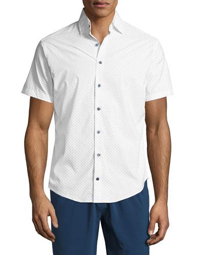 Wilson Polka-Dot Short-Sleeve Performance Sport Shirt, White