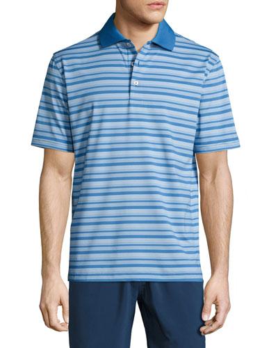Chow Striped Stretch Polo Shirt, Blue