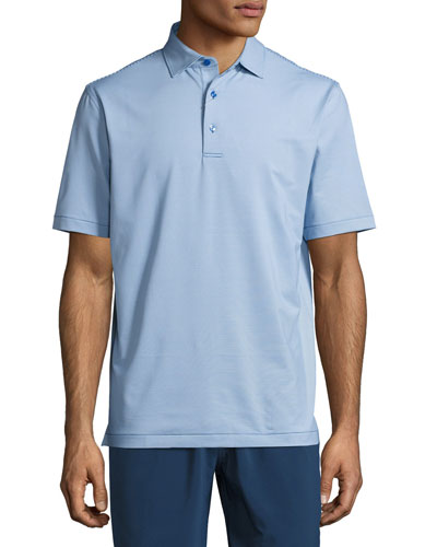 Jubilee Micro-Striped Stretch Polo Shirt, Blue