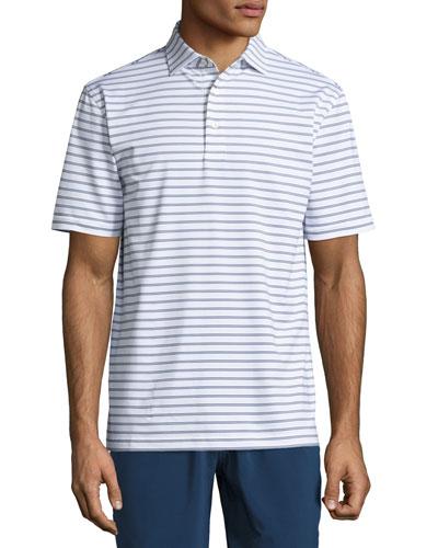 Pug Striped Stretch Polo Shirt, White