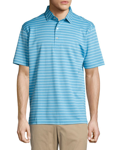 Falls Striped Cotton Piqué Polo Shirt, Blue