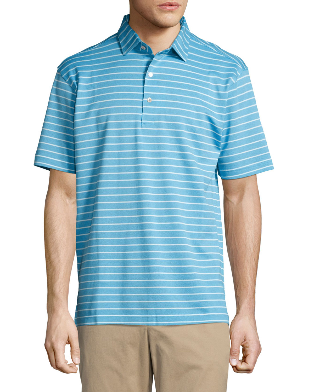 Falls Striped Cotton Piqué Polo Shirt, Blue