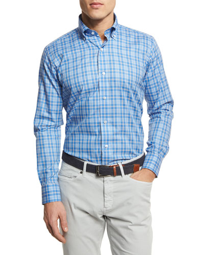 Coral Check Sport Shirt, Navy