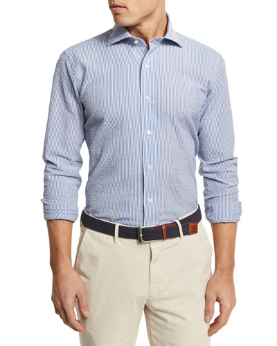Summer Striped Seersucker Sport Shirt, Blue