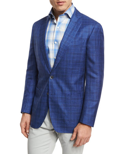 Port Vauban Windowpane Sport Coat, Blue