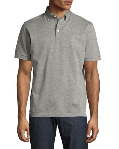 Provence Heather Knit Polo Shirt, Gray