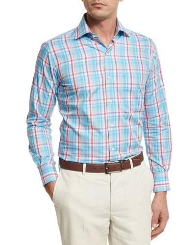 Shoreline Plaid Sport Shirt, Pink
