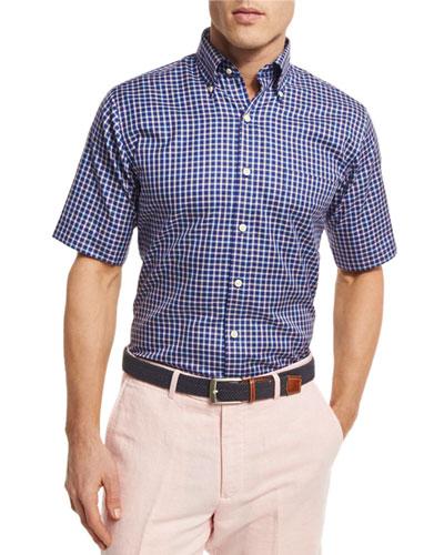 NanoLuxe Tattersall Short-Sleeve Sport Shirt, Navy