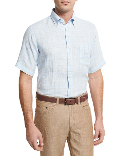 Crown Cool Glen Plaid Short-Sleeve Sport Shirt, Light Blue