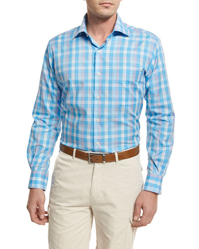 Bay Plaid Sport Shirt, Blue
