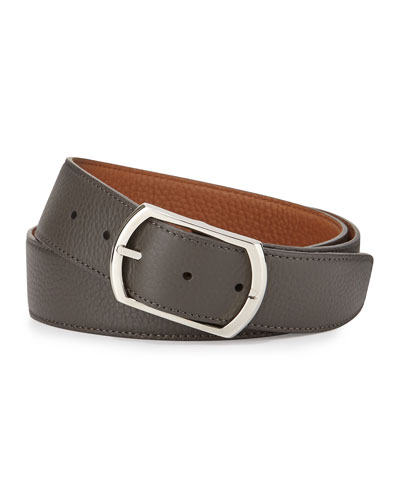 Reversible Leather Belt, Gray to Light Brown