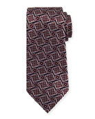 Basketweave Geometric Tie, Wine