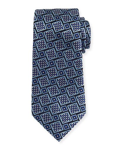 Basketweave Geometric Tie, Navy