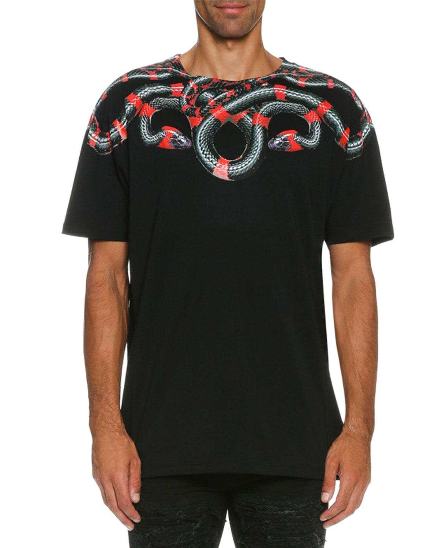 Ruben Snake-Print T-Shirt, Black