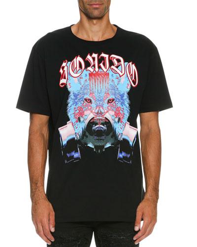 Tomas Wolf-Print T-Shirt, Black/Blue
