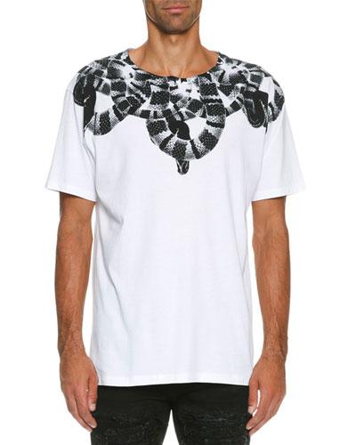 Leonardo Snake-Print T-Shirt, White/Black