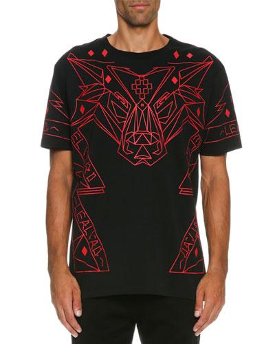 Geometric-Print T-Shirt, Black/Red