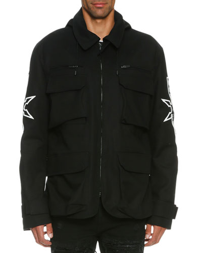 Abel Hooded Field Jacket with Embroidery, Black