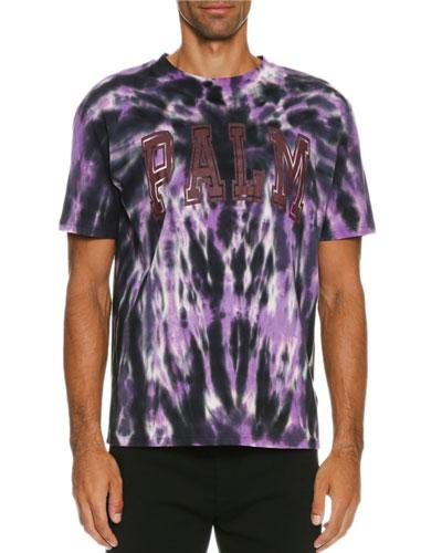 Tie-Dye Palm Logo T-Shirt, Black/Purple