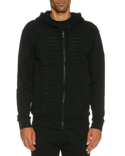 Tonal Passementerie Zip-Front Hoodie, Black