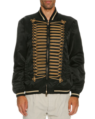 Passementerie Satin Bomber Jacket, Black/Gold
