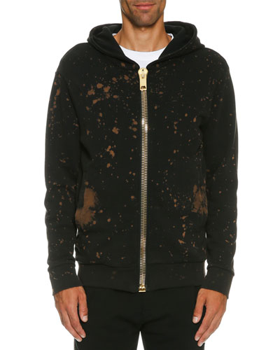 Bleach-Splatter Golden-Zip Hoodie, Black