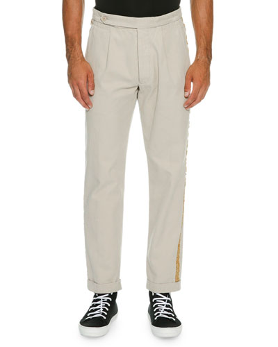 Classic Chino Trousers with Golden Passementerie Trim, Tan