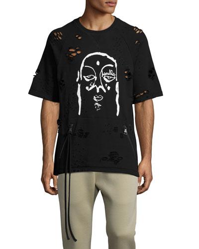 Moto Destructive 1/2-Sleeve Sweatshirt, Black