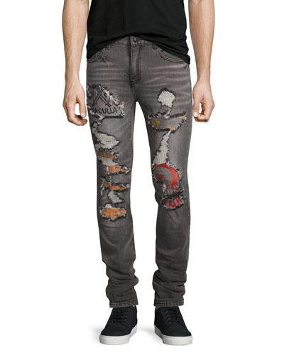 Post All Bills Distressed Skinny Jeans, Gray