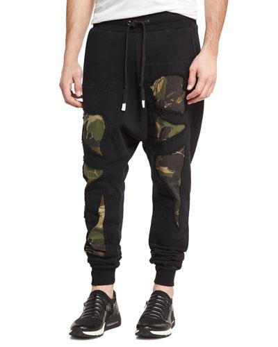 Militant Camo-Print Jogger Pants, Black/Multicolor