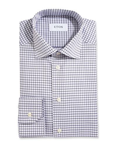 Box Check Twill Dress Shirt, White/Navy