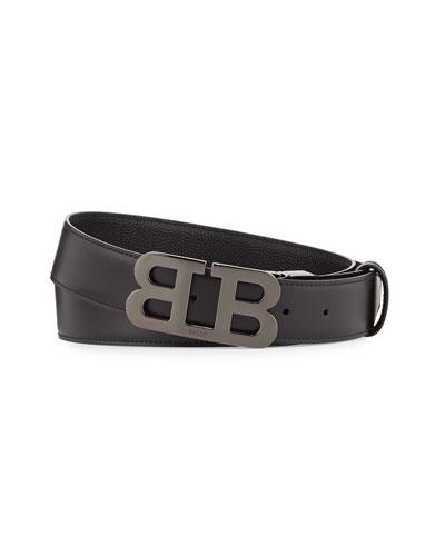 Mirror B Reversible Leather Belt, Black