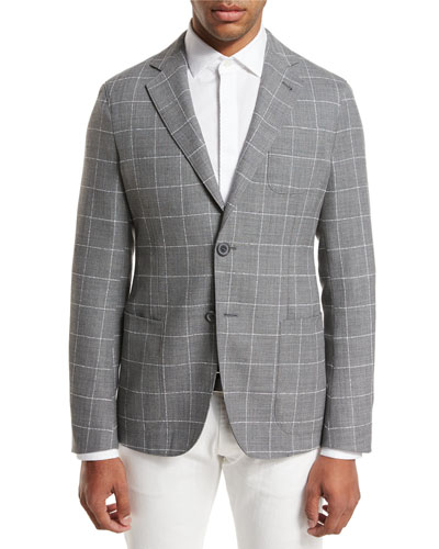 Upton Windowpane Check Two-Button Blazer, Gray