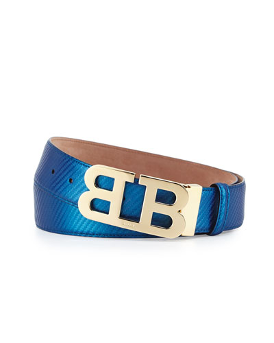 Mirror B Buckle Leather Belt, Ultramarine Blue