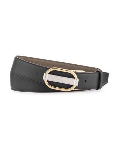 Sil Reversible Leather Belt, Black