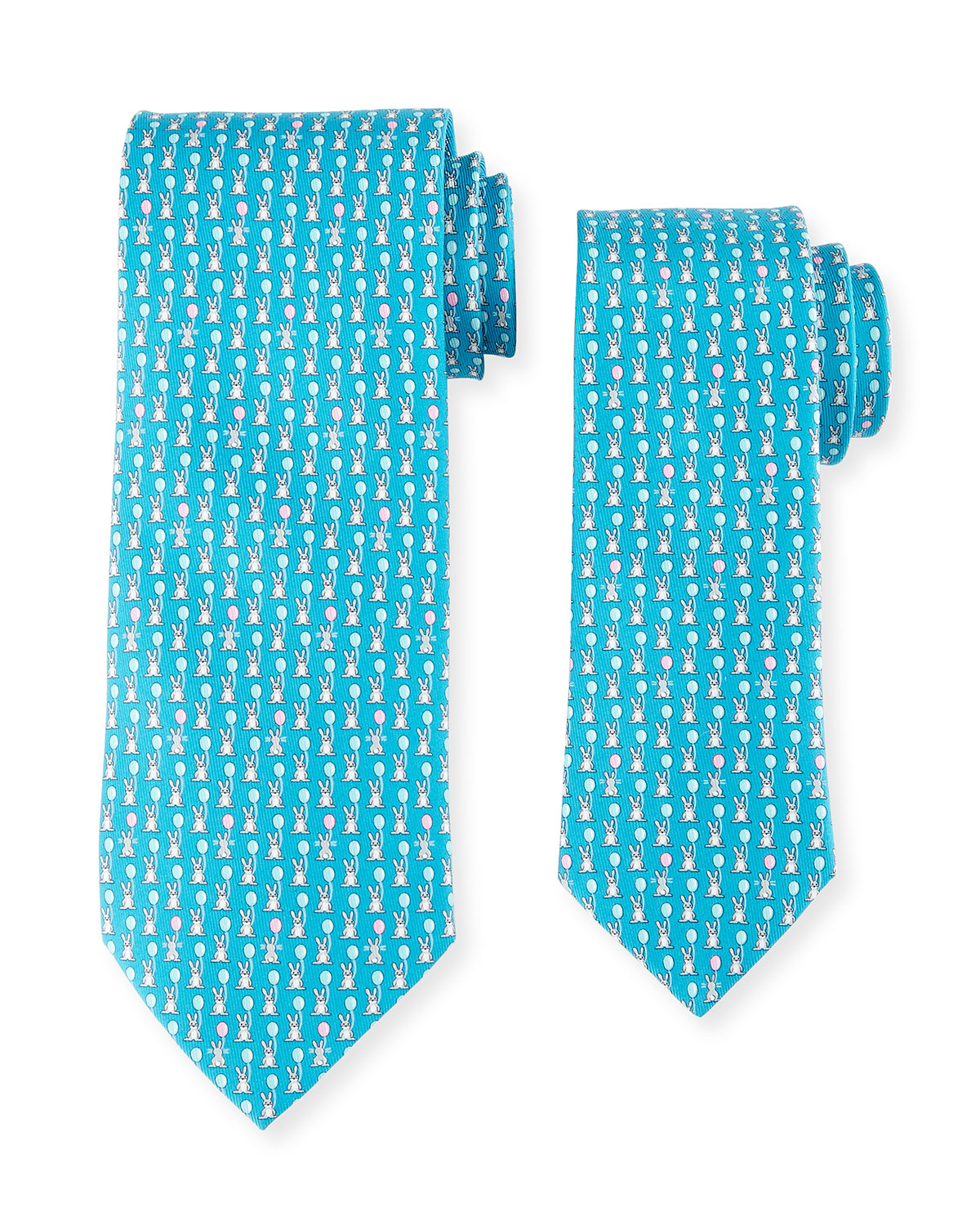 Father & Son Bunny with Balloon Silk Tie Set, Turquoise