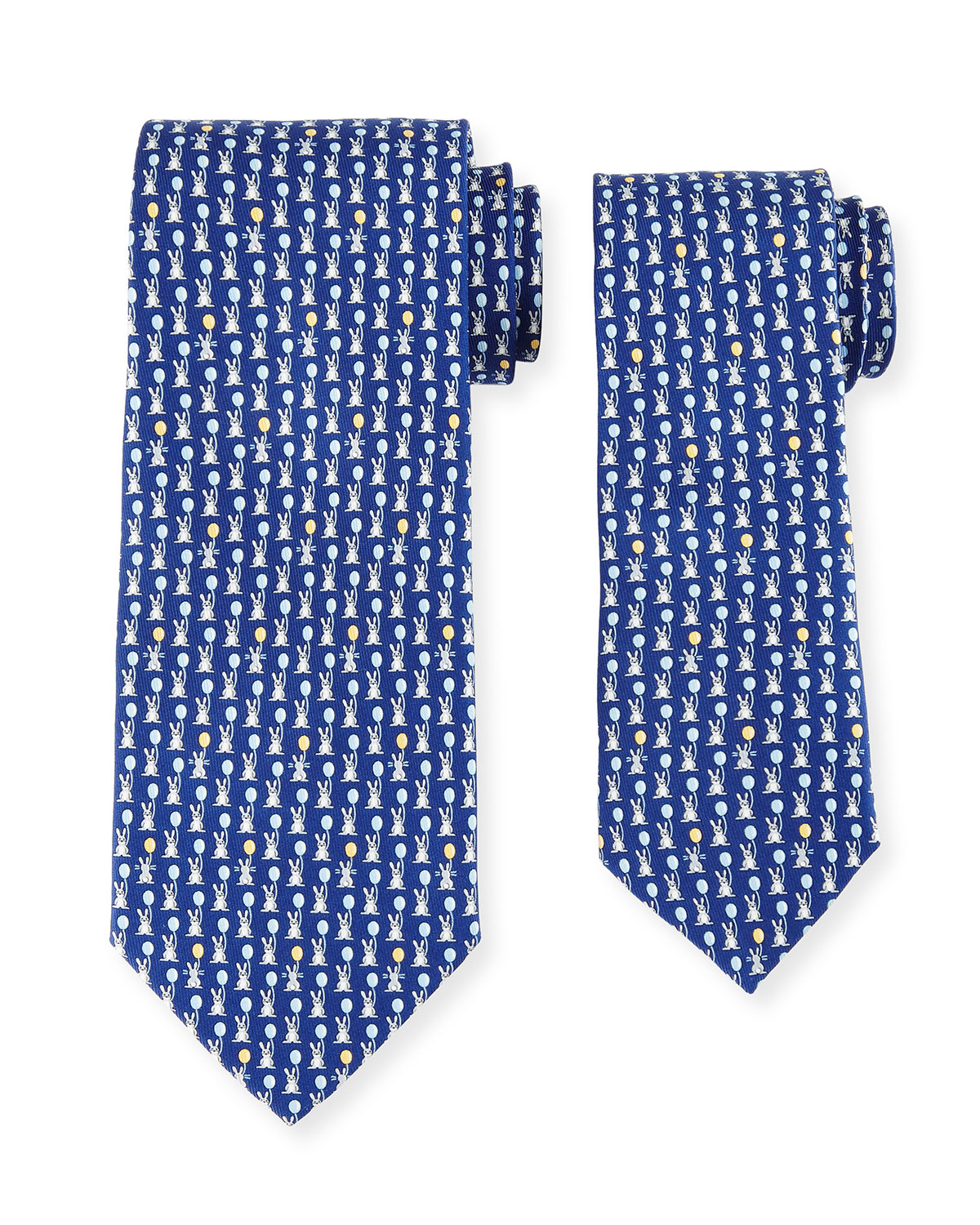 Father & Son Bunny with Balloon Silk Tie Set, Blue